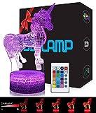 Licorne 3D Lampes avec Télécommande, USlinsky LED Lampe 7 couleurs Lumière...