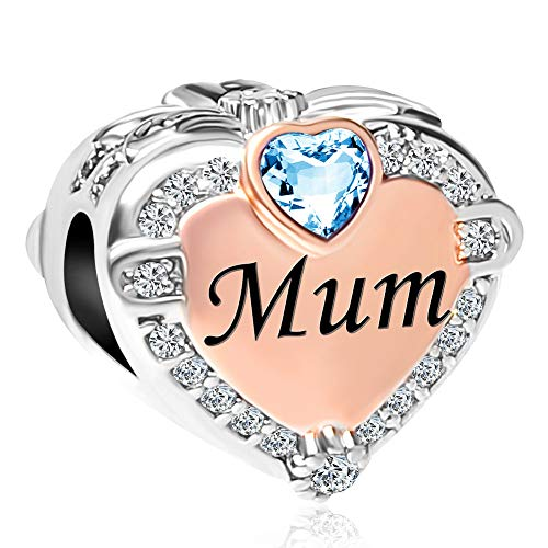 Sug Jasmin Shining Blue Crystal Rose Gold Plated Heart Love Mum Charms for Mother Gifts Fits Snake Chain Bracelets