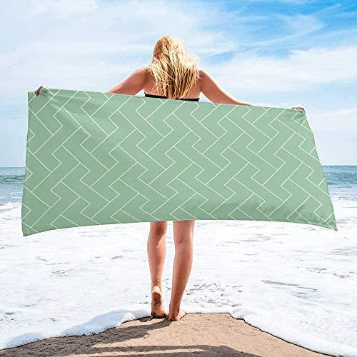 Toalla de Playa de Secado rápido Personalizada Verde Menta, Toallas de Mano Grandes de Gran tamaño y absorbentes Ligeras para baño, Hotel, Gimnasio, SPA, Piscina, natación (27 'x55, geométrica)