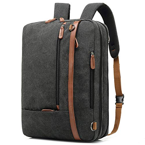 CoolBELL Convertible Briefcase Backpack Messenger Bag 15.6 Inch Laptop Bag Men's Business Shoulder Bag Multi-Purpose Work Bag Travel Backpack Notebook Shoulder Bag (Canvas Black)