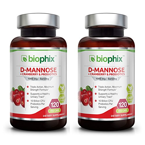 D-Mannose Plus Cranberry and Probiotics 1000 mg 120 Vcaps 2 Pack - Urinary Tract Health | Bladder Infection | Support UTI Prevention | Digestive Health