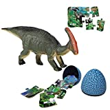 Parasaurolophus Dinosaur Toy Sets, Realistic Roaring Jumbo Dinosaur & Dinosaur Puzzle & Dinosaur Egg 3 in 1 Toddler Toys Set for Kids Boys and Girls Age 3 and up Play
