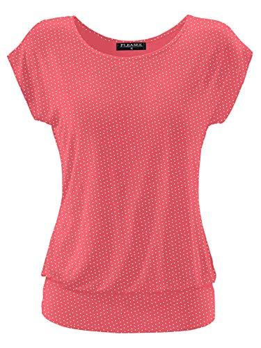 Fleasee Damen T-Shirt Kurz Ärmel Bluse Stretch Lässig Tunika Allover Druck Oberteile Top S Pink Gepunktet