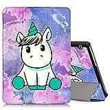 ZhuoFan Huawei Mediapad T3 10 Hülle, Schlanke Leicht Hülle Tasche Ständer Schutzhülle mit Muster Motive Cover für Huawei T3 9,6 Zoll Tablet, Einhorn