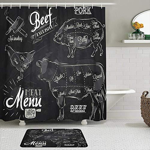 MTevocon Duschvorhang Sets mit rutschfesten Teppichen,Fleisch für Steak Kuh Schwein Huhn geteilt in, Badematte + Duschvorhang mit 12 Haken
