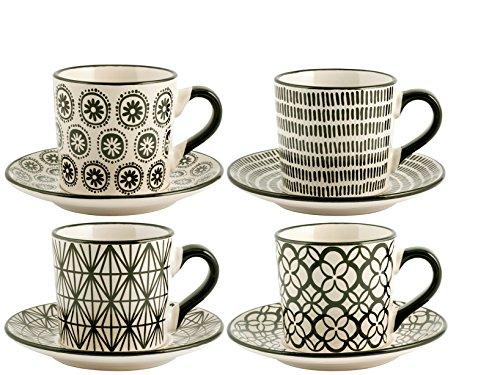 H+H Vhera Set Tassen Tee dekoriert mit Teller Tellern, Porzellan, Dekor schwarz, 8Einheiten