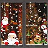 Qiundar 12 Pcs Pegatinas De Navidad para Ventanas Escaparates, Pegatina Ventana Decorativa Pegatina Copo De Nieve Adornos navideños para Casa PVC Pegatinas Electrostáticas(25X35CM)