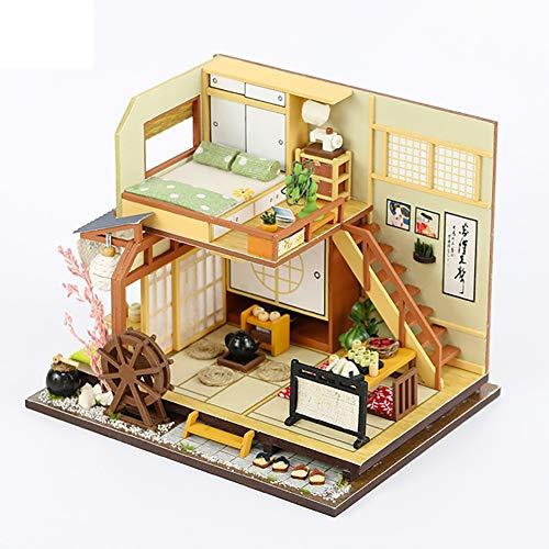 ROCK1ON DIY Dollhouse Houten Miniatuur Meubelset 3D Puzzels Mini Japanse Hotel Plus Stofbestendig en Led Licht Creatieve Kerstmis Verjaardagscadeau voor Vrouwen en Meisjes (Karuizawa's vakantie)