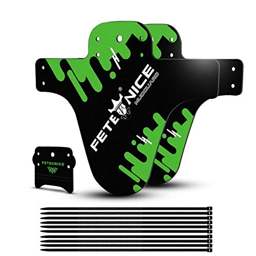 FETESNICE Adjustable Mountain Bike Fender Front and Rear CompatibleFits 26 275 29 Plus Size and Fat Bike Wheel Sizes2PcsGreen