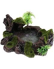 Ozdoba do akwarium jaskinia skała żywica gady miska do karmienia woda jedzenie terrarium krajobraz dekoracja
