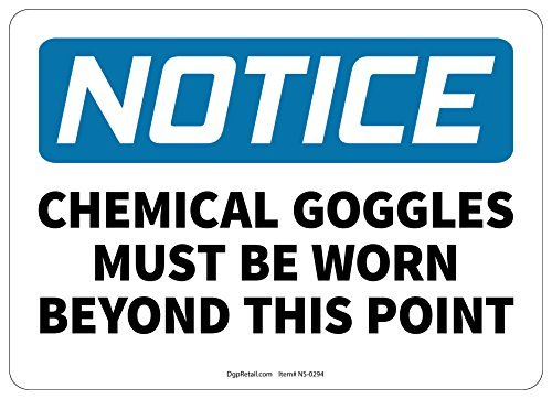 HSSS Hinweisschild Chemical Googles Must Be Worn Beyond This Point – 20,3 x 30,5 cm