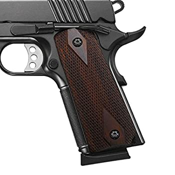 Cool Hand 1911 Rosewood Grips Gun Grips Screws Included Full Size  Government/Commander  Checker Diamond Cut Ambi Safety Cut Brown