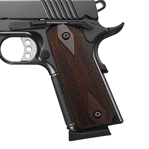 Cool Hand 1911 Rosewood Grips, Gun Grips Screws Included, Full Size (Government/Commander), Checker Diamond Cut, Ambi Safety Cut, Brown