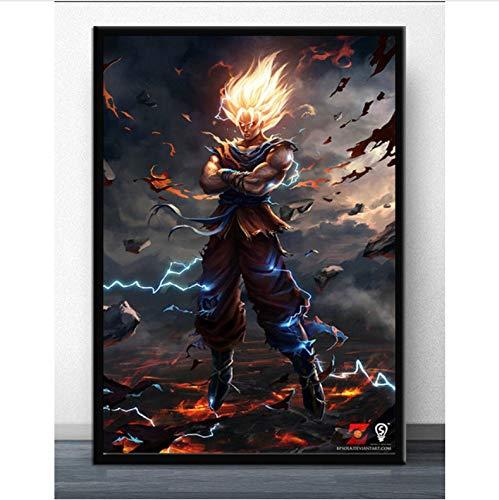 PHhomedecor Cuadros Murales Lienzo Póster Dragon Ball Z Goku Impresión Artísticos De Pared Salón Dormitorio Decoración De Pared Mural De Lienzo,50X70Cm Sin Marco,Ph-717