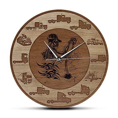 xinxin Wanduhren Schädel Trucker Holz Textur Acryl Print Wanduhr Baufahrzeug Skelett Knochen Fahren und überleben Wandkunst Home Decor