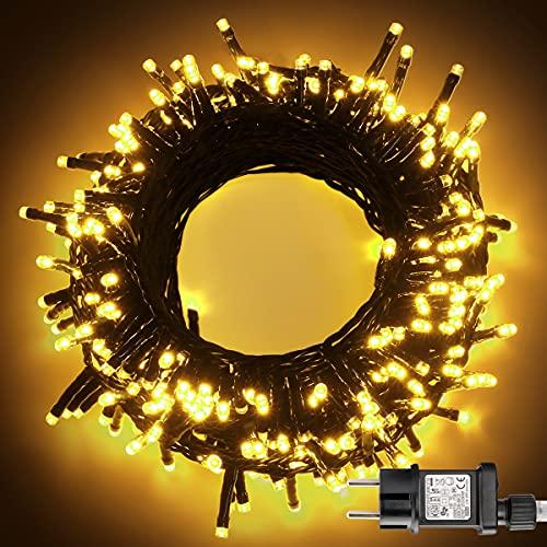 LIGHTNUM 12M 120 LED Lichterkette Außen, Warmweiß Lichterkette Strom mit 8 Modi und Speicherfunktion, Wasserdichte IP44 für Balkon, Garten, Geländer, Weihnachten, Innen, Aussen Dekoration