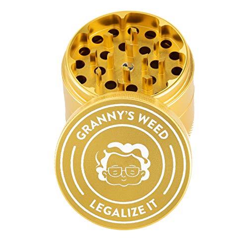 Granny's Premium Aluminium Grinder | Feines Mahlwerk | 4-teilig | inkl. Pollenschieber | In Gold u. weitere edle Designs | ∅ 5,5 cm