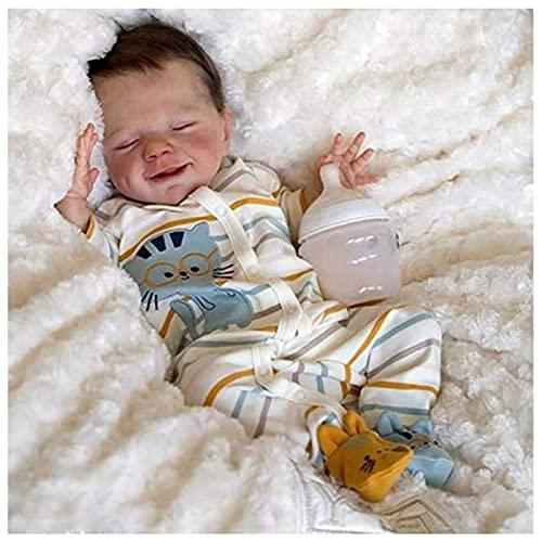 JXWANG Munecas Bebes Reales Baratos - 18 Pulgadas MuñEcas Reborn Silicona Cuerpo Entero - NiñO Renacido CumpleañOs O Navidad