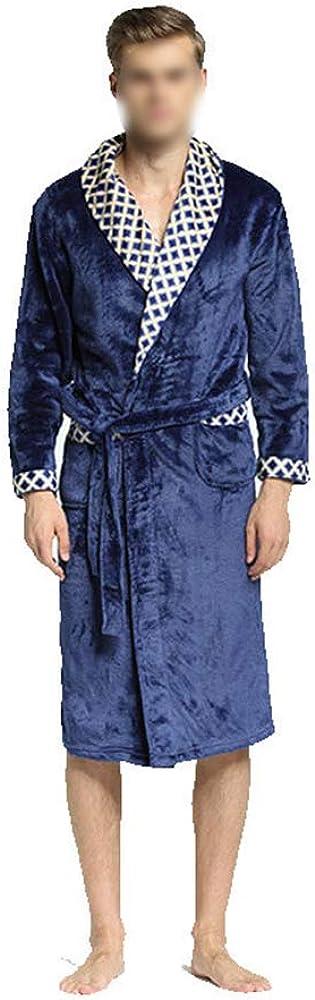 Men's Winter Soft Flannel Nightwear,Comfortable Coral Fleece Bathrobe