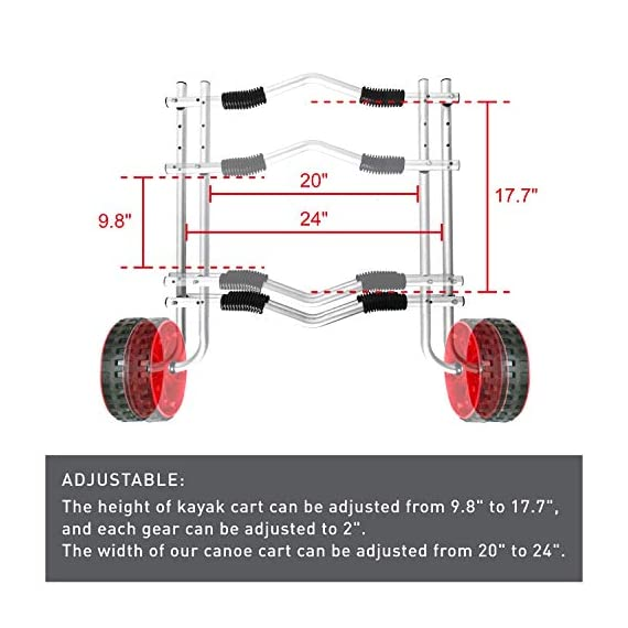"""Onefeng Sports Airless End Kayak Cart, Canoe Carrier Trolley Adjustable Kayak Trolley Suit for Extra Large 24inch Width… 6 ►【Suit for Extra Large Kayak】 Kayak cart is suitable for kayaks up to 24 inches wide.The height of kayak cart can be adjusted from 9.8"""" to 17.7"""", and each gear can be adjusted to 2"""".The width of our canoe cart can be adjusted from 20"""" to 24"""".So whatever your. So no matter what size you are, you can adjust your kayak cart. ►【Capacity】 Generous 150lb carrying capacity allows you to easily transport your kayak / canoe;solid aluminium frame,and rubber protectors on each arm to protect your canoe / kayak hull; Rubber bumpers of the foot protect the frame from wearing. ►【New Plastic Wheels】 Wheels are environment-friendly,odourless tasteless.Size:25×7cm(9.8""""×2.7"""") plastic tires with rubber sheaths.Spring button, easy assembly."""