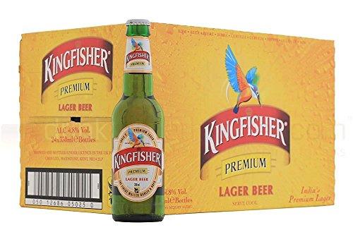 Kingfisher premium Cerveza Lager 330 ml (paquete de 24 x 330 ml)