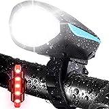 LETOUR - Luz para bicicleta con bocina alta, luz recargable para bicicleta, resistente al agua, luz delantera para bicicleta con sirena de sonido fuerte, 3 modos de iluminación 5 sonidos