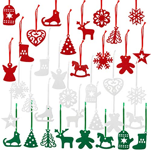 Naler 36 Pieces Christmas Felt Ornament Set - Includes Reindeer, Snowflake, Angel, Glove - Cute Hanging Ornaments for Christmas Tree Decorations