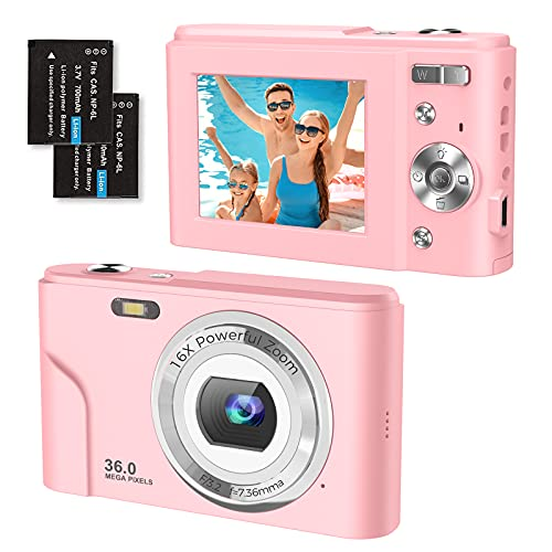 Digital Camera 1080P FHD 2.4 Inch Compact Camera, 36 Megapixel Photo Camera...