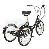 Triciclo de 20 pulgadas, 8 velocidades, para adultos, 3 ruedas, cómodo, para exteriores, deportes de ciudad, incluye bolsa de tela (negro)
