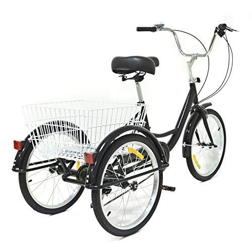 Tricycle - Triciclo per adulti, 20 pollici, 8 marce, 3 ruote, per anziani, anziani, tempo libero, triciclo, con grande cestino nero, unisex, per anziani, sicuro e stabile, regalo per genitori