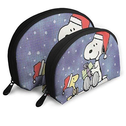 Sac de Maquillage Snoopy de Noël Sacs de Voyage Petit Sac à Coque Sac de Toilette Portable Pochette 2Pcs