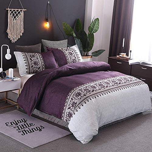 BH-JJSMGS Bohemian duvet cover quilt cover retro exotic bedding set striped floral embroidery soft bedding, purple Single150*200cm