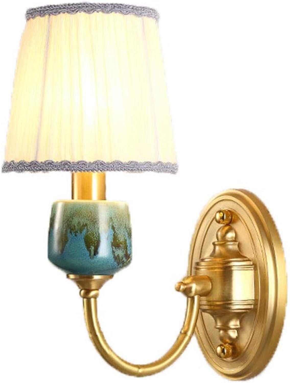 NJ Wandlampe- Retro Kupfer Wandleuchte Nacht Wohnzimmer Schlafzimmer Esszimmer Treppenlicht (Farbe   Messing-15x33cm)