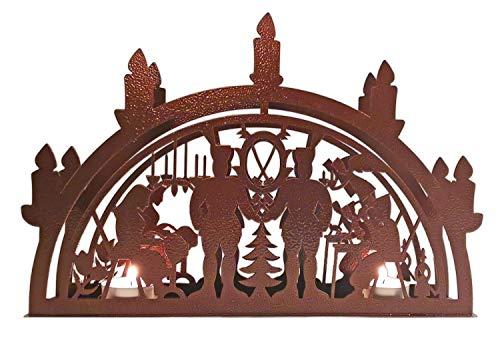 Schwibbogen Lichterbogen Leuchter aus Metall - auch für Echtkerzen geeignet - Motiv Schwarzenberg - gefertigt im Erzgebirge - Weihnachtsdekoration Weihnachten Advent (Antikbronze)