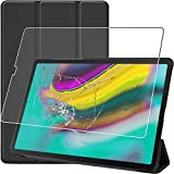 ebestStar - Funda Compatible con Samsung Galaxy Tab S5e 10.5 T720/T725 Carcasa Cuero PU y Silicona, Smart Cover Reposo Automático, Negro + Cristal Templado Protector [Tab: 245 x 160 x 5.5mm, 10.5'']