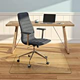 """Vitrazza Glass Office Chair Mat Square 48"""" x 48"""" Chiaro Std Clear - Made in USA, Coated to Resist Fine Scratches, Stabil-a-Dot Bumper System Included, Designed to Protect Carpet or Wood Floors"""