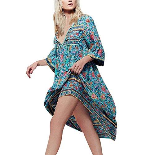 LHWY Vestidos De Verano Bohemios Mujer Largos, Vestidos Casuales De Playa con Mangas Cortas Vestidos De Estampado Flor ÉTnica S-XXXXXL