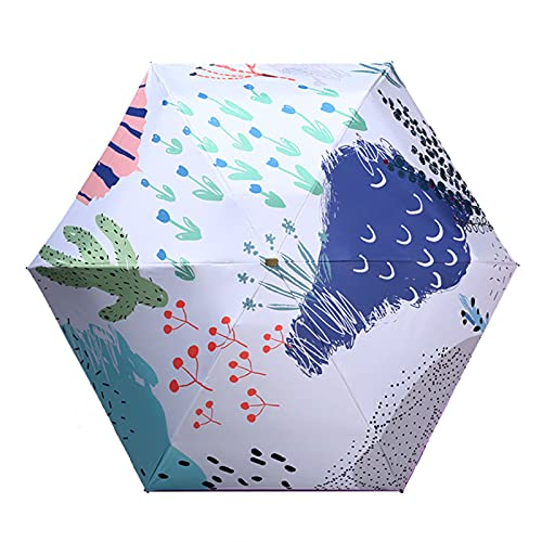 GYGFYJR Paraguas Plegable, Mini Parasol, Revestimiento De Vinilo, 6 Varillas / 8 Varillas, Sombrilla De Protección Solar 190T, Pequeño, Ligero Y Compacto, Patrón Único, para Negocios Y Viajes, Blanco