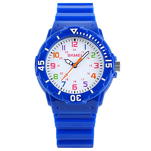 Gosear Wasserdicht Kinder Jungen Mädchen Lässige Sport Quarz Handgelenk Uhr Armbanduhr Geschenk Gegenwart Blau