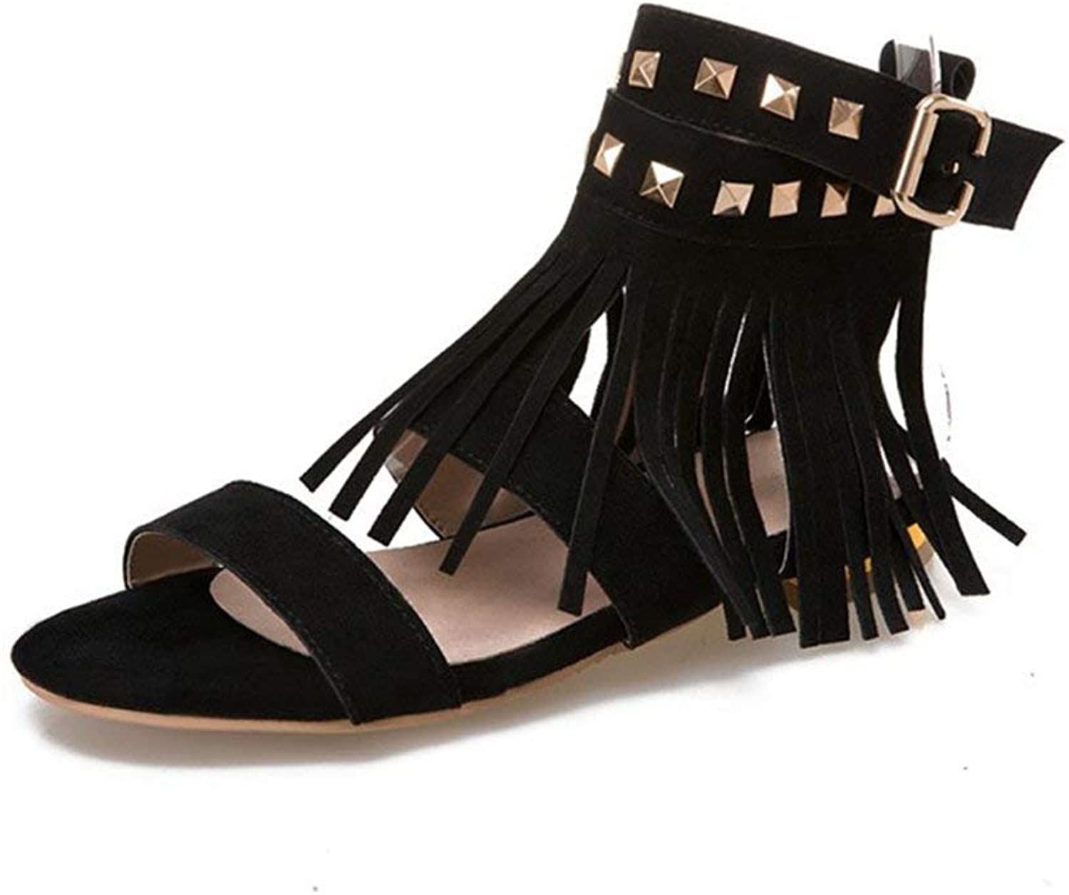 Fashion shoesbox Women's Fringe Strappy Flat Sandals Open Toe Comfort Buckle Strap Rivets Roman Dress Low Heel Sandals