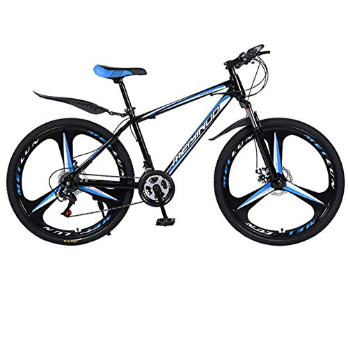 DGAGD 26 inch double disc brake variable speed high carbon steel mountain bike three-wheel-Black blue_21 speed