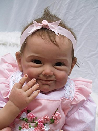 Muñeca Reborn NPKDOLL, de silicona suave, 55 cm, boca magnética, realista, bonito juguete para niño o niña, vestido rosa con flores, A1UK