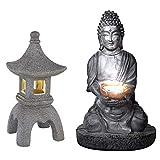 Buddha solare per esterno Lanterna in pietra giapponese pagoda decorazione da giardino Lampada solare Buddha, grigio, 1x LED, giardino