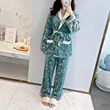 SMEJS 2 unids Dorado Velvet Warm Invierno Pijamas Lencería Pijama Sets Bathrobe Traje Sleepwear...