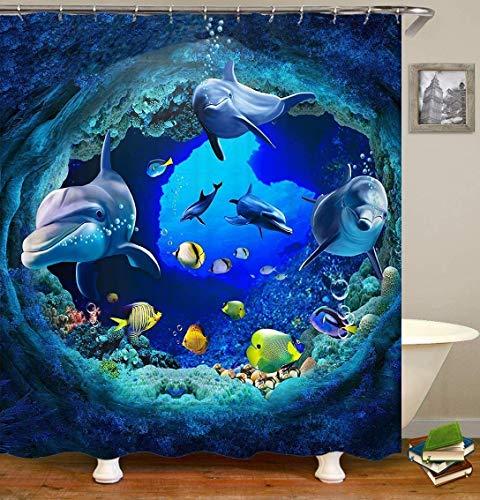 Delfin Duschvorhang mit 12 Vorhangringen, Tiere im Meeresboden Badezimmer Dusche Vorhang Farbecht, Wasserdicht, 180 * 180 cm (Delfin)