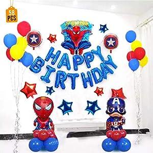 Buena Ventura's Themez Only Superhero Birthday Party Decoration Balloons 1045 – Happy Birthday Foil (Blue) – Pack of 58 pcs for Boy Birthday