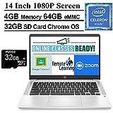 2020 Newest HP Chromebook 14 Inch FHD 1080P Laptop with Webcam, Intel Celeron N4000 up to 2.6 GHz, 4GB RAM, 64GB eMMC, Webcam, WiFi 5, Chrome OS + NexiGo 32GB MicroSD Card Bundle