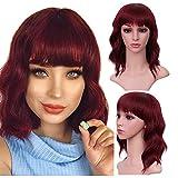 YMHPRIDE Peluca corta ondulada de 14 pulgadas de aspecto natural con flequillo para mujer, corto y rizado, hasta los hombros, pelucas sintéticas de Bob, disfraz (rojo vino)