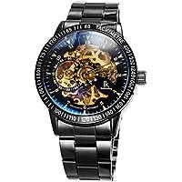 Alienwork IK Reloj Mecánico Automático Relojes Automáticos Hombre Mujer Acero Inoxidable Negro Analógicos Unisex Impermeable Esqueleto