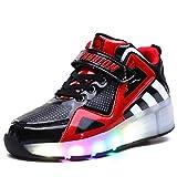 Unisex Kinder Mode LED Schuhe mit Rollen Drucktaste Einstellbare Skateboardschuhe Outdoor Gymnastik Turnschuhe Für Junge Mädchen (35 EU, Schwarz rot 8085)